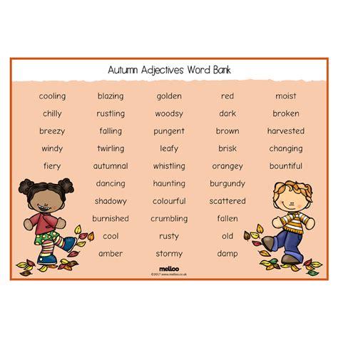 Autumn Adjectives Word Bank  Science  Eyfs, Ks1, Ks2