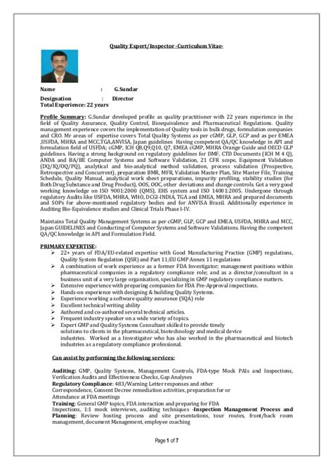 quality auditor and trainerprofile g sundar