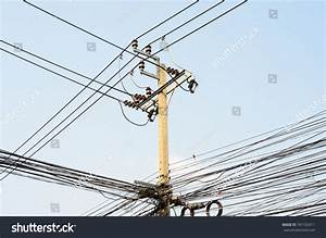 Electrical Transmission Lines Vs Telephone Lines Stock
