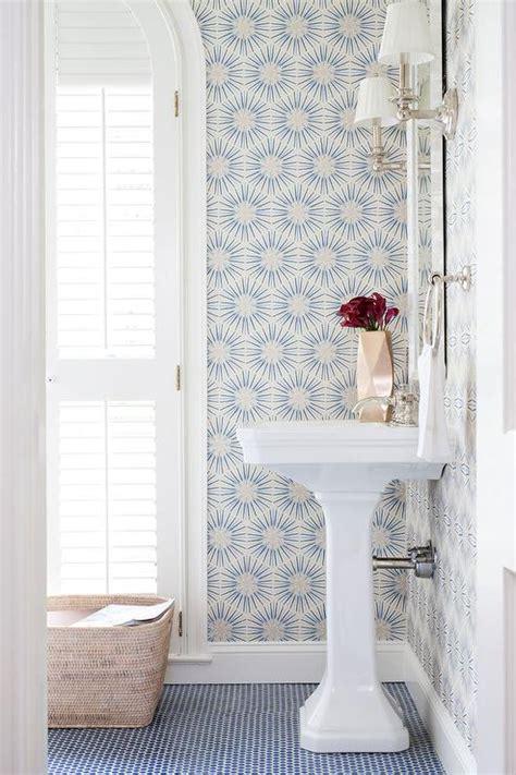 white  blue powder room  blue penny tile floor