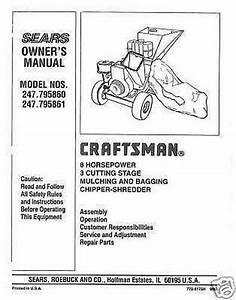 Craftsman Chipper Shredder Manual Model   247 795861