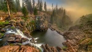 Waterfalls, Between, Rocks, In, Forest, 4k, Hd, Nature, Wallpapers