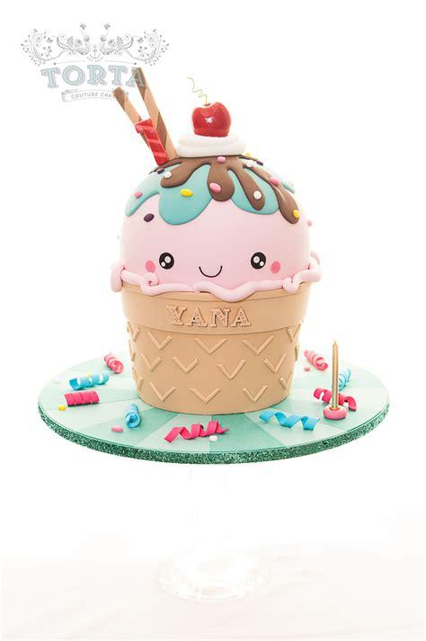 kawaii inspired ice cream cone cake wedding party