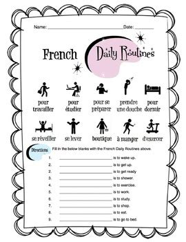 french daily routines worksheet packet  sunny side
