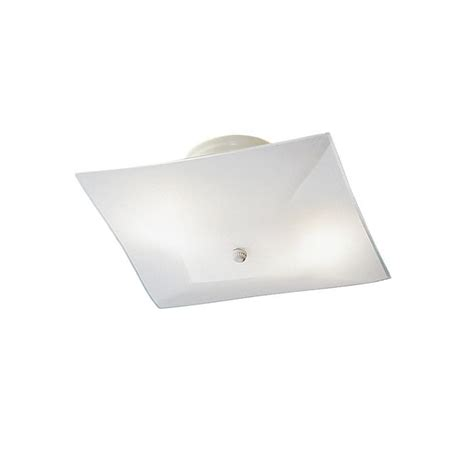 2 light flush mount square shaped ceiling fixture package