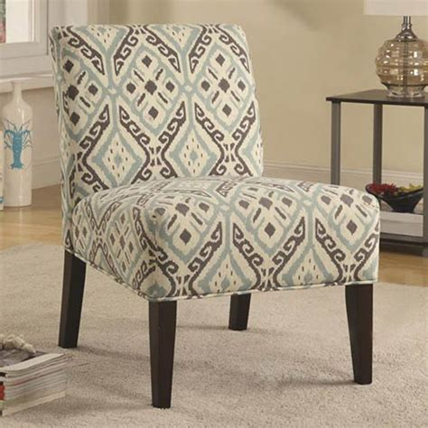 blue and gray patterned accent chair coaster furniture arm