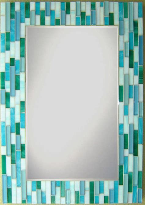 mosaic wall mirror teal aqua blue pale periwinkle by