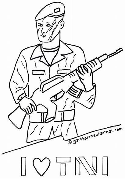 Mewarnai Tentara Gambar Sketsa Tni Kemerdekaan Kartun