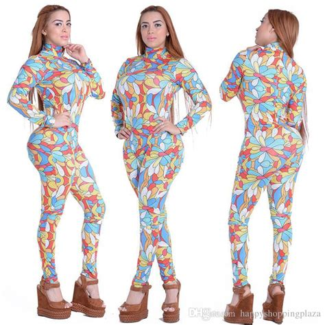 2017 Women Bodycon Jumpsuit Colorful Print Long Sleeve Rear Zipper High Neck Outfit Sexy Girls ...
