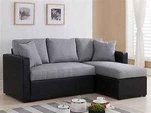 Canapé Tissu Angle : canap d 39 angle tissu r versible vigo avec coffre gris et noir 68229 ~ Teatrodelosmanantiales.com Idées de Décoration