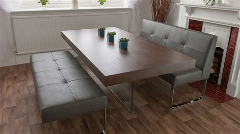 Trendy Dark Wood Dining Set With Dining Benches Wide