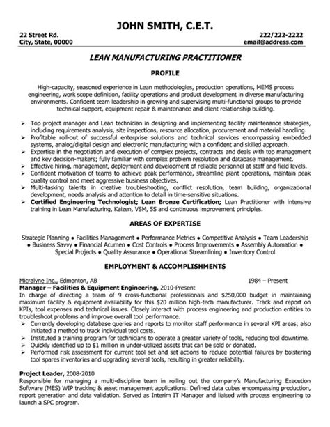 Lead Project Engineer Resume by Lead Manufacturing Practitioner Resume Template Premium Resume Sles Exle
