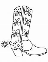 Cowboy Coloring Boots Pages Printable Western Template Birthday sketch template