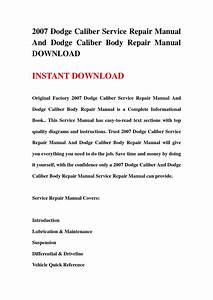 2007 Dodge Caliber Service Repair Manual And Dodge Caliber