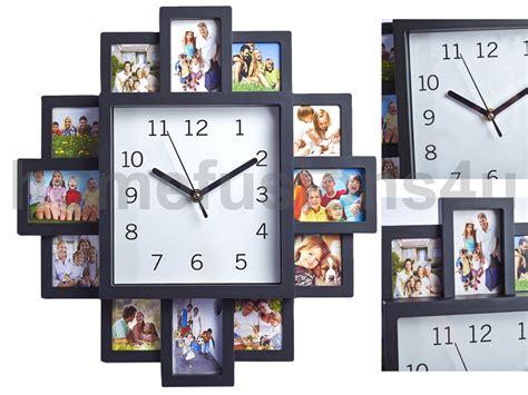 Black 12 Multi Photo Picture Wall Clock Aperture Frame
