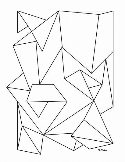 Coloring Geometric Pages Abstract Simple Shapes Shape