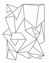 Geometric Coloring Pages Abstract Simple Shapes Shape Print Line Folded Adults Library Clipart Popular sketch template