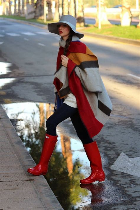 poncho  red hunter boots pictures   images