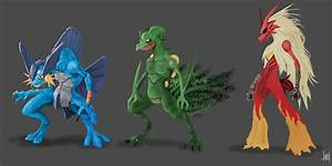 Swampert, Sceptile, Blaziken by xluxifer on DeviantArt