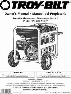 Troybilt 01919 User Manual Portable Generator Manuals And