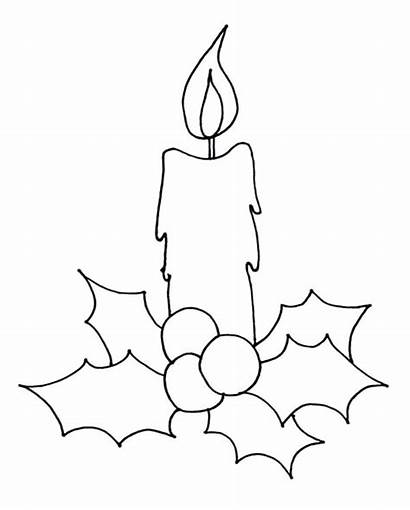 Candle Christmas Coloring Draw Pages Drawing Drawings