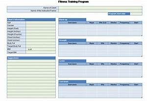 workout chart for excel With fitness program template free download