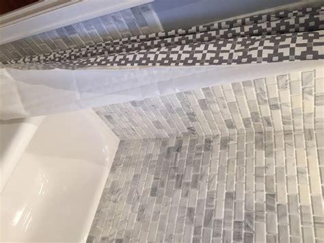 rustic bathroom in bronx shower curtain stone brick