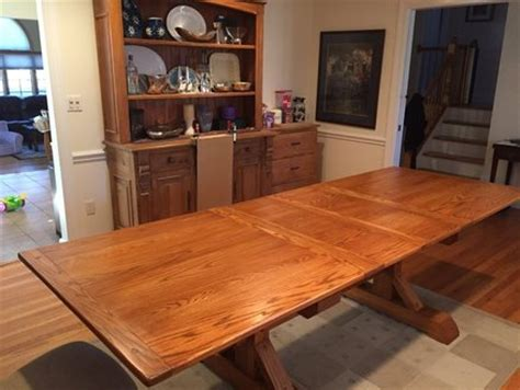 Dining Room Table Extension Slides by Dining Room Table Dual Trestle And Extension Slides By