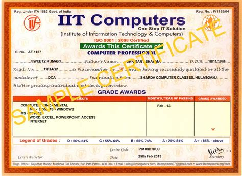 sharda computer classes sample certificate