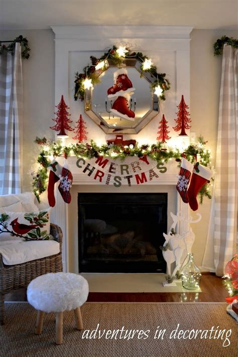 ideas  christmas fireplace decorations