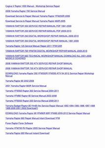 Yamaha Raptor 50 Service Manual Repair 2004 2 By Ona Wax