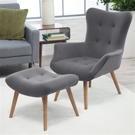 Modern Chair Ottoman by Belham Living Matthias Mid Century Modern Chair And