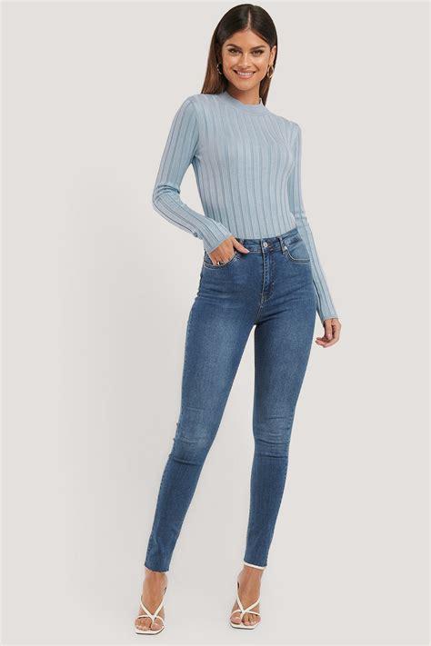 Skinny High Waist Raw Hem Jeans Tall Blue | na-kd.com