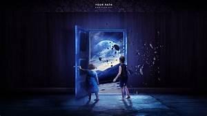Blue outer space purple doors children wallpaper ...