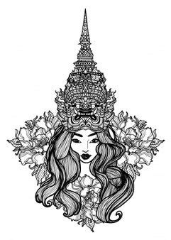 Tattoo Art A Woman Wearing A Thai Giant Hat Hand Drawing