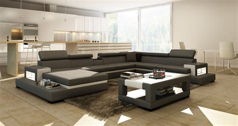 Divani Casa 5081 Grey And White Leather Sectional Sofa W