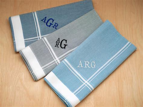 monogrammed handkerchiefs men 2 letter set of 3 set of 3 mixed blue gray monogrammed mens handkerchiefs