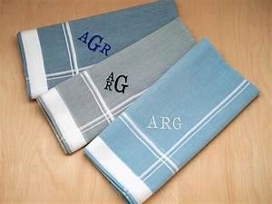 Set of 3 Mixed Blue Gray Monogrammed Mens Handkerchiefs ...