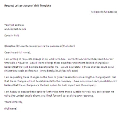 request letter  change  work schedule request letter