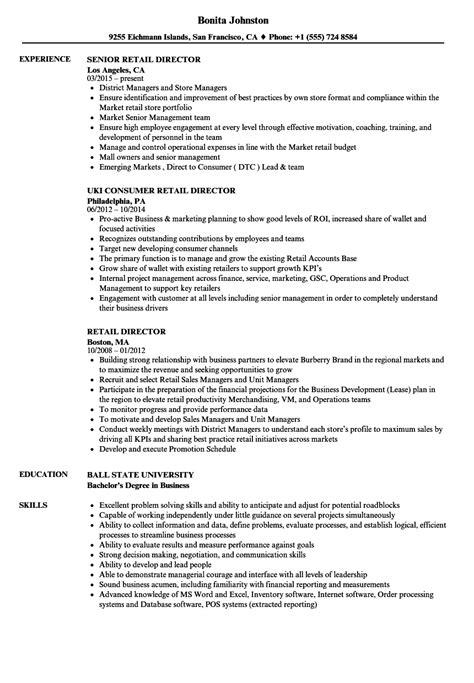 Resume For Retail by Retail Director Resume Sles Velvet