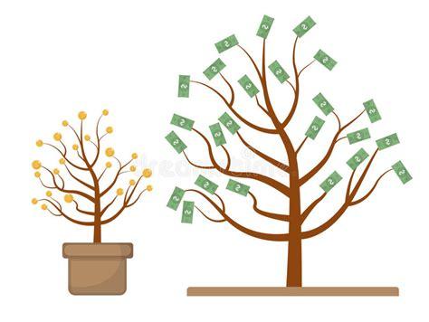 baum mit geld baum mit geld m 252 nzen und dollar entwicklung wachstum progressives konzept flaches design