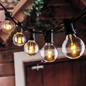 Warm, White, 25, Bulbs, G40, Globe, String, Lights, Ul, List, Patio, Light, Vintage, Eu, Us, Plug, For, Indoor