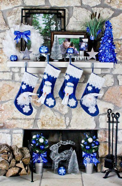 blue  silver fireplace christmas decor diy tutorial