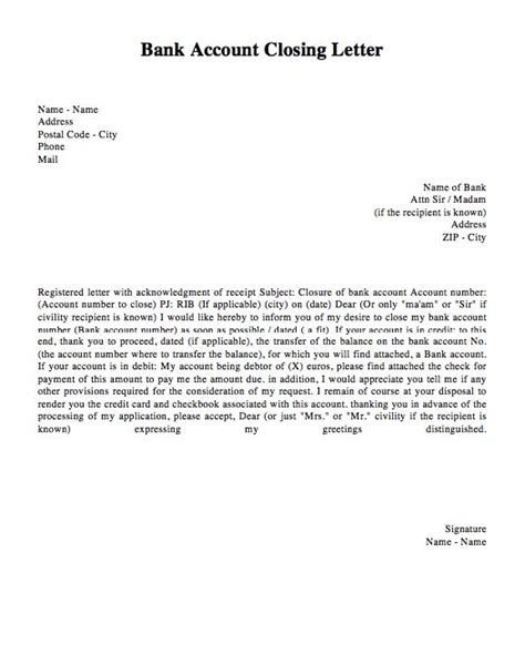 bank account closing letter template http