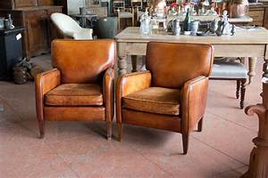 Pair Of Vintage French Leather Chairs At 1stdibs