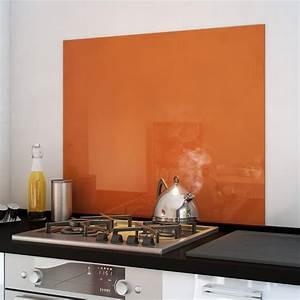 Fond De Hotte Verre : cr dence fond de hotte verre brillant orange cuisissimo ~ Dailycaller-alerts.com Idées de Décoration
