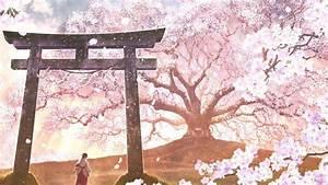 Sakura Blossom Anime Landscape Japanese Clothes wallpaper ...