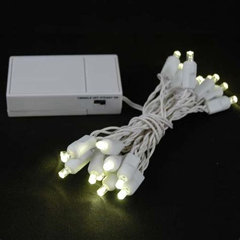 20 led battery operated lights warm white on white wire