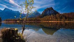 Landscape, Of, Austria, Mountain, With, Reflection, On, Lake, Hd