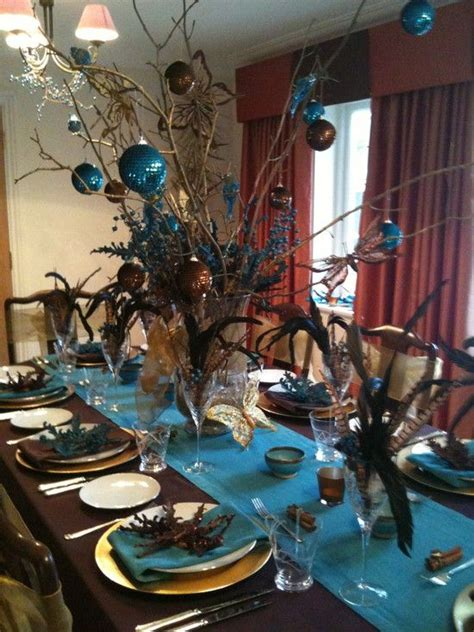 brown  turquoise christmas table tablescapestable